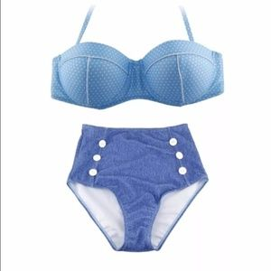 Polka Dot Retro Denim Look High Waist Bikini XXL